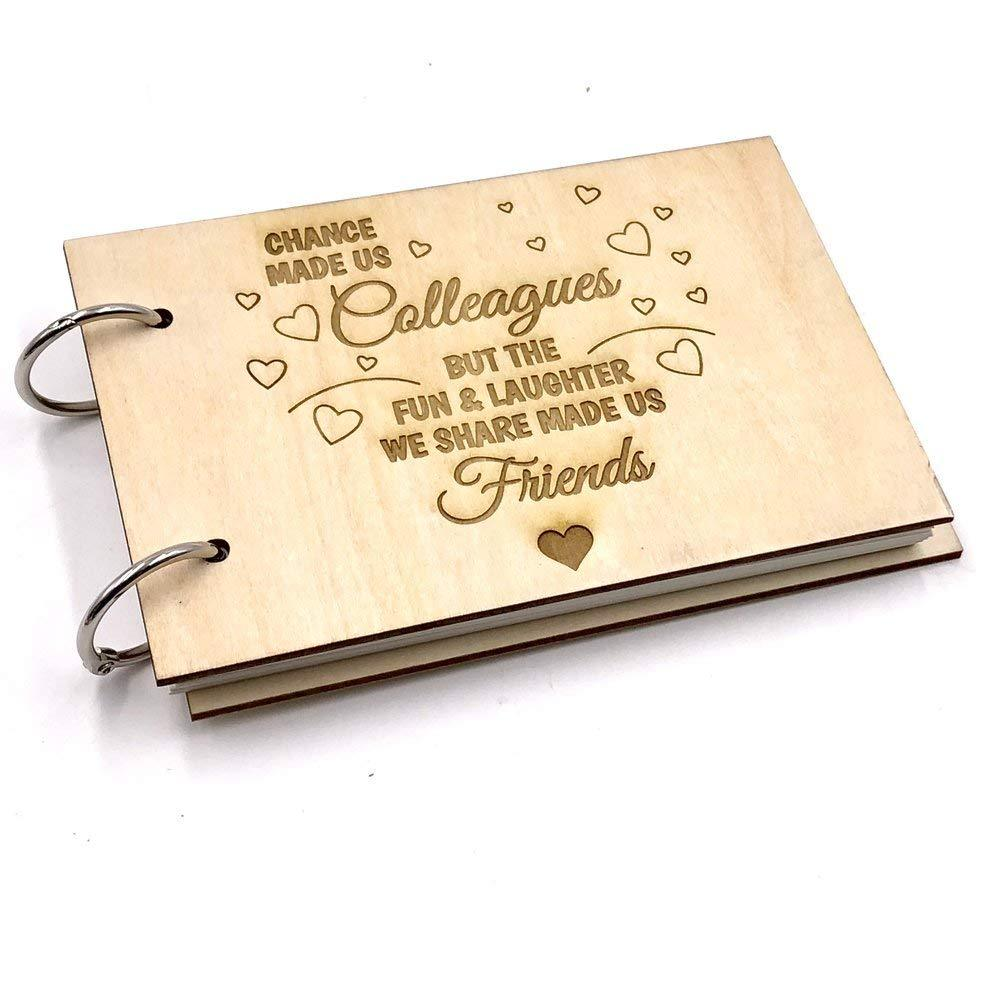 Wooden Front Colleagues to Friends Guest Book or Scrap Book - ukgiftstoreonline