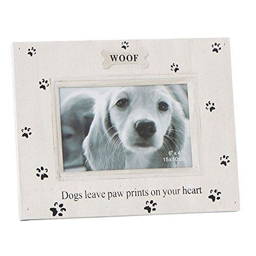 Woof Dog Photo Frame - Pawprint Rustic Style With Sentiments - ukgiftstoreonline