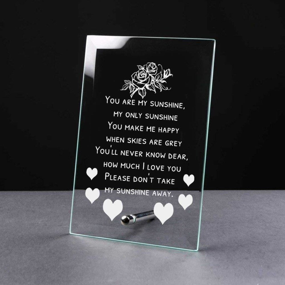 You Are My Sunshine Sentiment Gift Glass Plaque - ukgiftstoreonline
