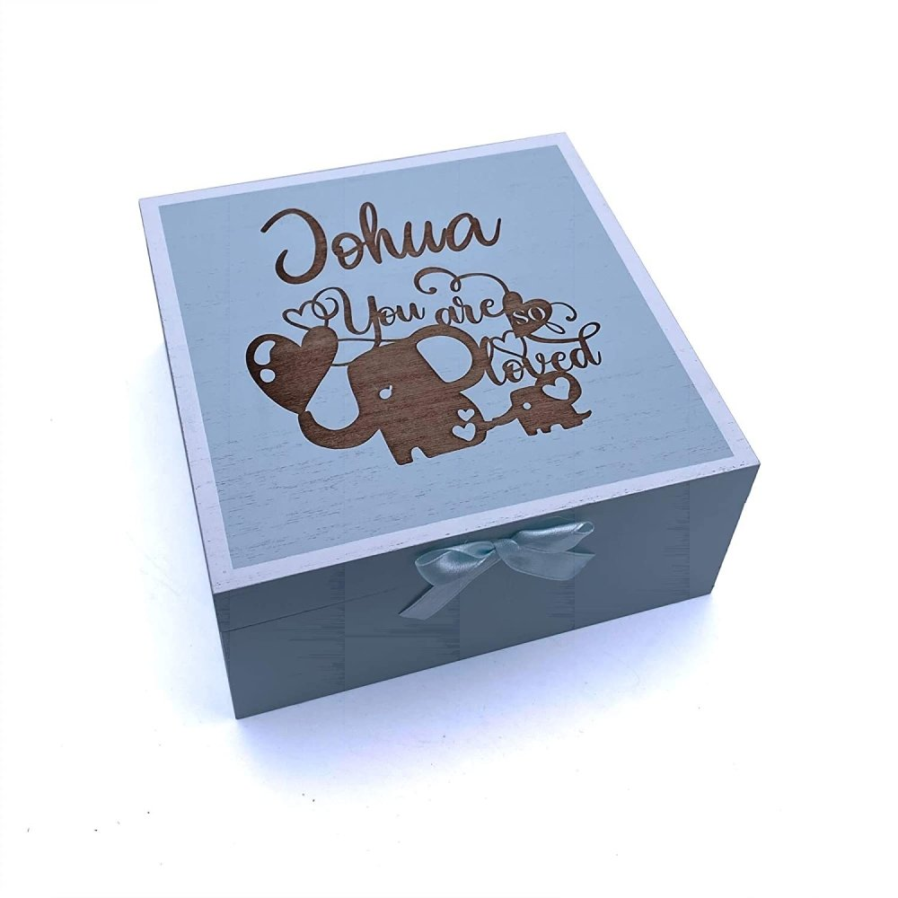 YOU ARE SO LOVED PERSONALISED BABY BOY BLUE WOODEN KEEPSAKE BOX - ukgiftstoreonline