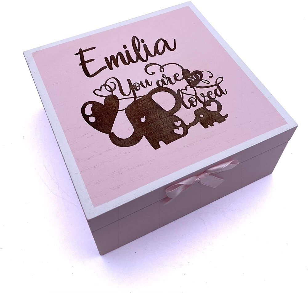 ukgiftstoreonline Personalised Baby Girl Pink Keepsake Memories Box Romper Design