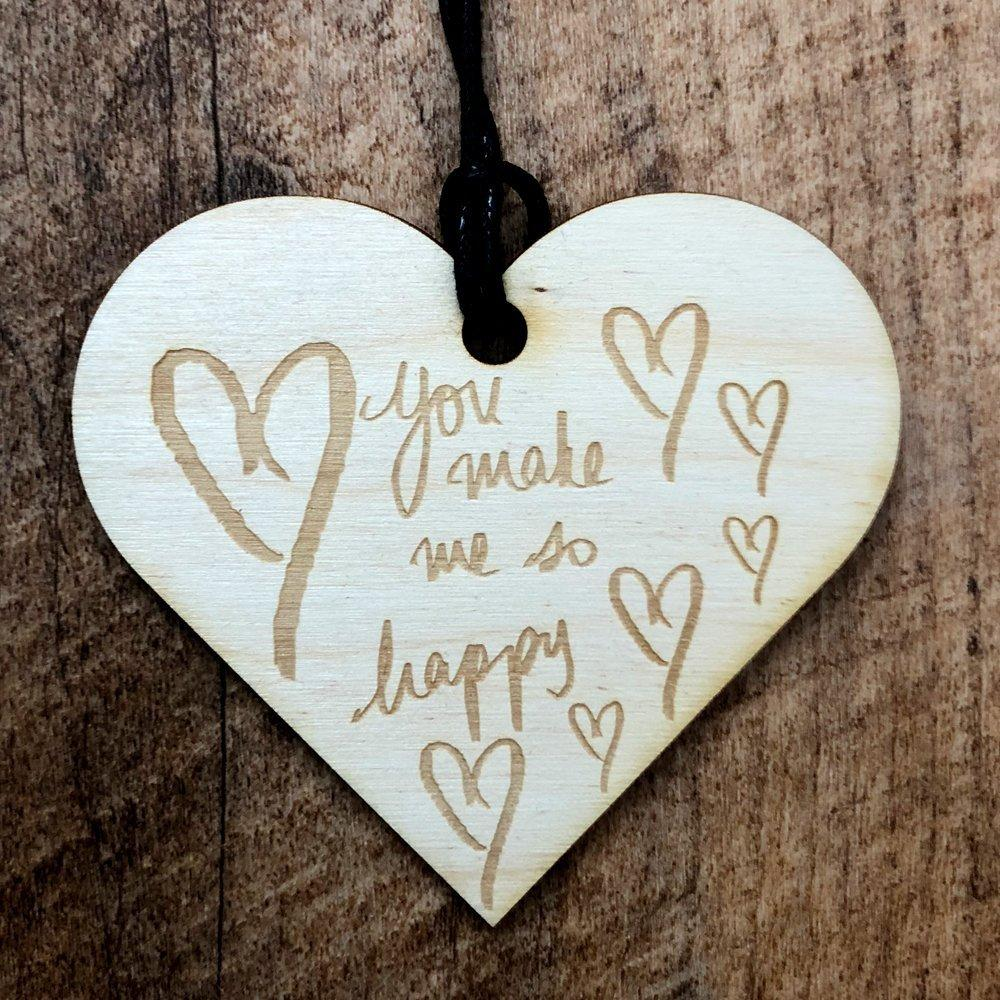You Make Me So Happy Wooden Hanging Heart Love Plaque Gift - ukgiftstoreonline