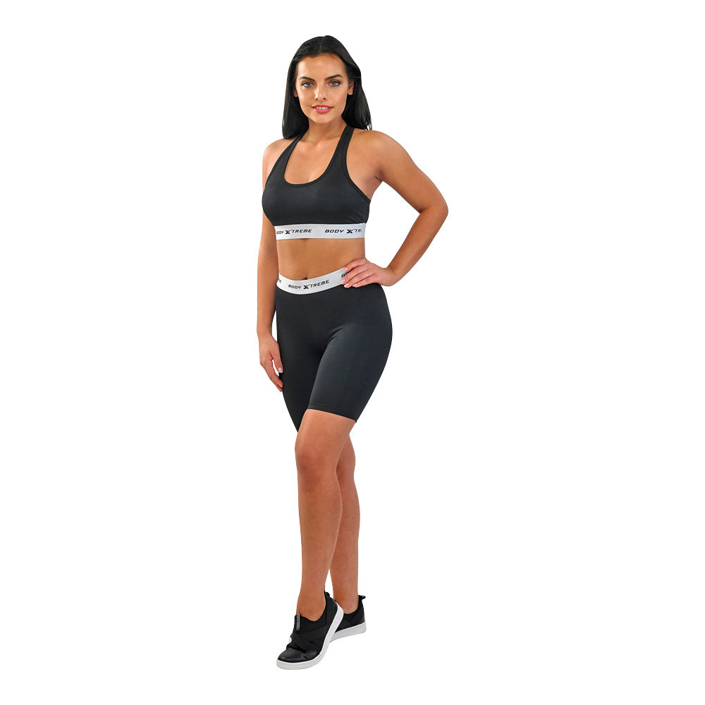 Body Xtreme Fitness Ladies Sports Bra and Shorts (Black)