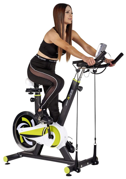 Body Xtreme Fitness Exercise Bike, 40lb Flywheel, Resistance Bands - Body Xtreme Fitness