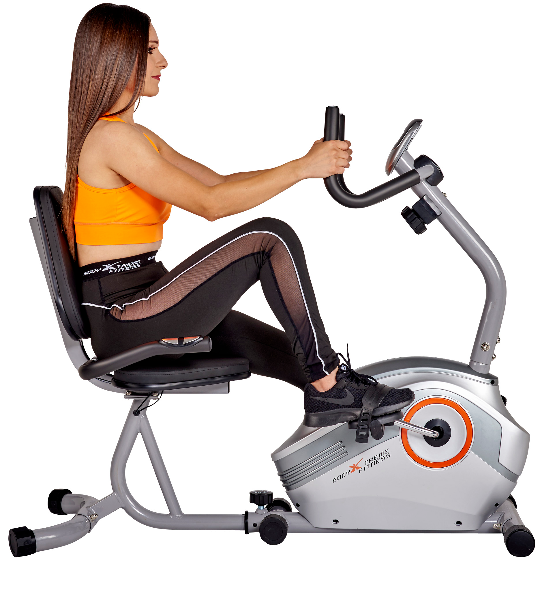 Body Xtreme Fitness Magnetic Recumbent Exercise Bike, Pulse Sensors