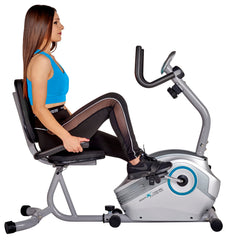 Body Xtreme Fitness Magnetic Recumbent Exercise Bike, Pulse Sensors (Blue)