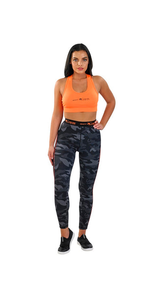Body Xtreme Fitness Ladies Camo/Orange Sports Bra and Leggings