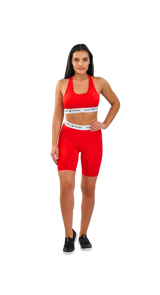 Body Xtreme Fitness Ladies Sports Bra and Shorts (Red)