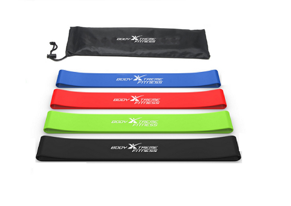 Body Xtreme Fitness Resistance Loop Band 5 pack. Perfect for leg resistance workouts - Body Xtreme Fitness
