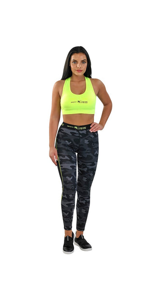 Body Xtreme Fitness Ladies Camo/Yellow Sports Bra and Leggings