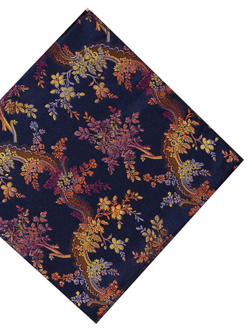 DÉCLIC Cirrus Floral Hanky - Navy/Orange