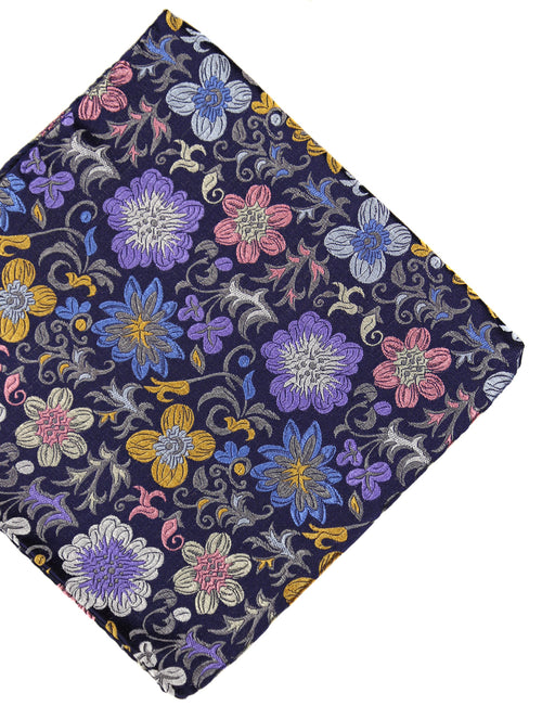 DÉCLIC Lusso Floral Pocket Square - Navy/Multi