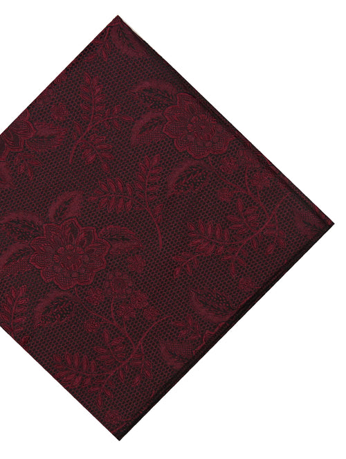 DÉCLIC Kontur Floral Pocket Square - Burgundy