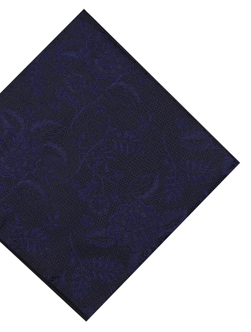 DÉCLIC Kontur Floral Pocket Square - Navy