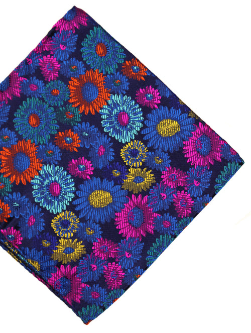 DÉCLIC Marigolo Floral Pocket Square - Navy/Assorted
