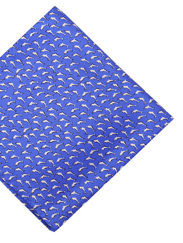 DÉCLIC Jardin Check Pocket Square - Blue