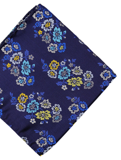 DÉCLIC Impatiens Floral Pocket Square - Navy