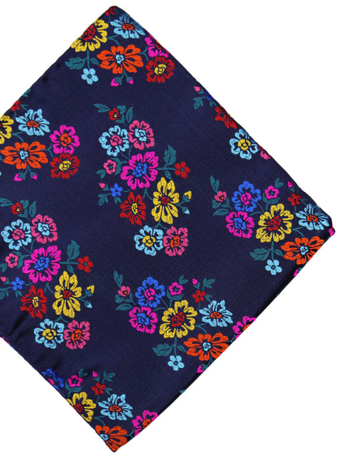 DÉCLIC Impatiens Floral Pocket Square - Navy/Assorted