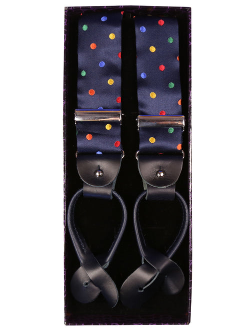 DÉCLIC Multi Spot Leather Button Strap Braces - Navy