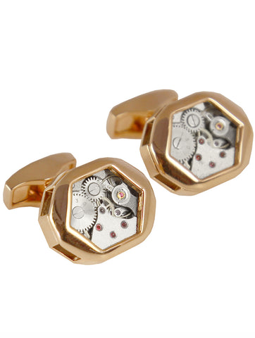 DÉCLIC Gear Square Cufflink - Gold