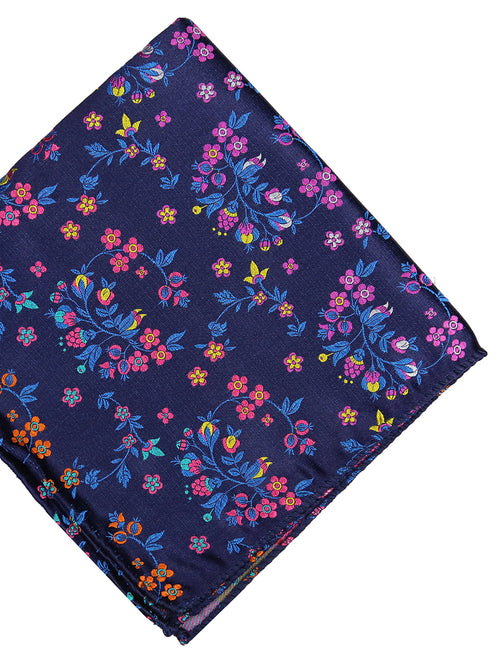 DÉCLIC Villar Floral Pocket Square - Navy
