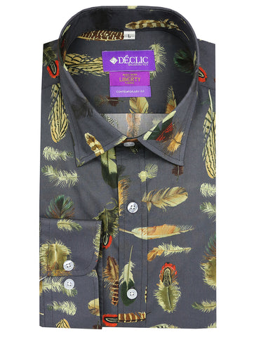 DÉCLIC Dappled Floral Print Short Sleeve Shirt - Green