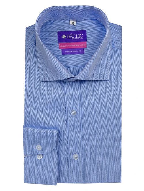 DÉCLIC 'Easy Travel' Tintern Twill Shirt - Blue