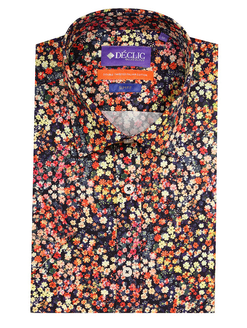DÉCLIC Plume Floral Print Short Sleeve Shirt - Assorted
