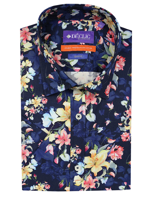 DÉCLIC Bunch Floral Print Short Sleeve Shirt - Navy