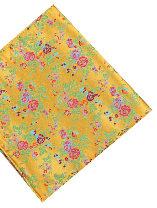 DÉCLIC Latona Floral Pocket Square - Yellow