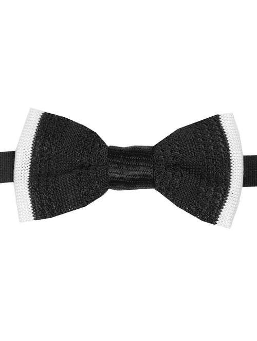 DÉCLIC Barre Knitted Bow Tie - Black/White