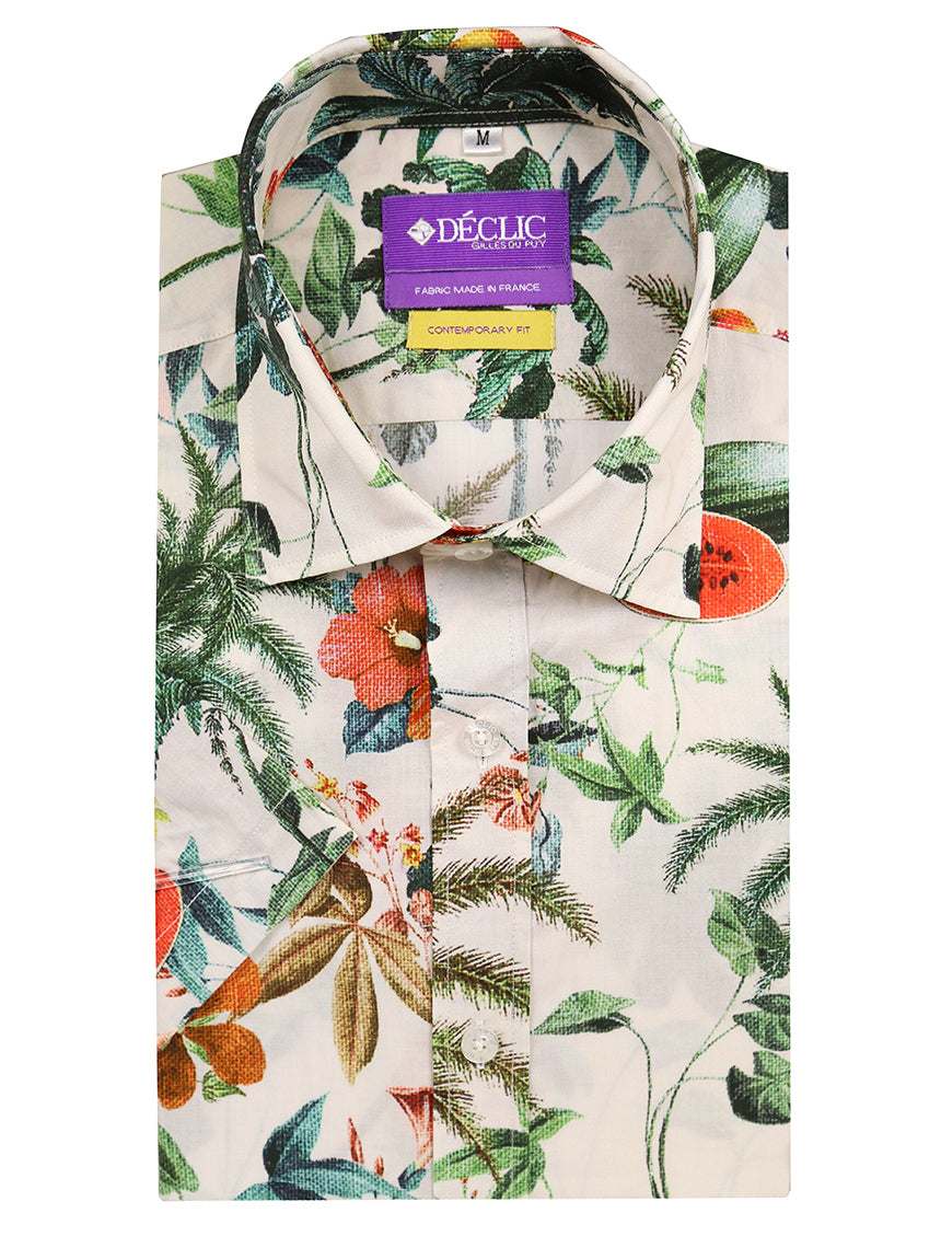 DÉCLIC Orchid Print Short Sleeve Shirt - Assorted
