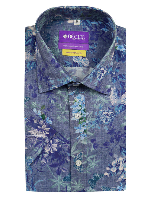 DÉCLIC Shangri-La Print Short Sleeve Shirt - Blue