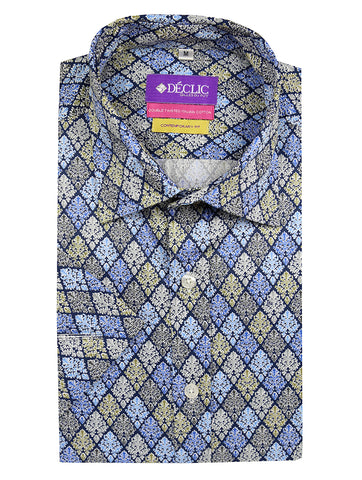 DÉCLIC Shadow Short Sleeve Check Shirt - Blue
