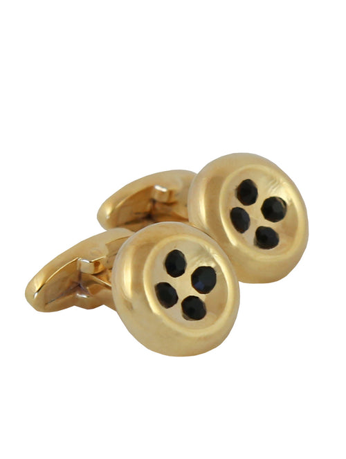 DÉCLIC Button Crystal Cufflink - Gold