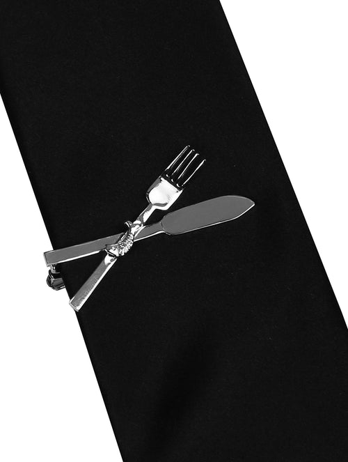 DÉCLIC Fork & Knife Tie Bar - Silver