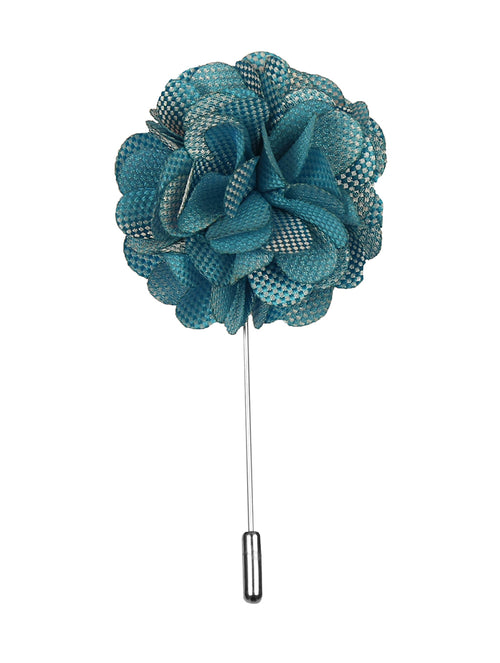 DÉCLIC Flower Texture Lapel Pin - Aqua