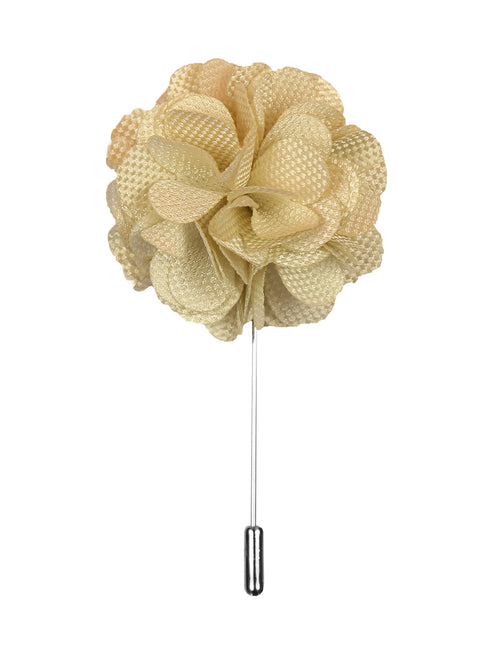 DÉCLIC Flower Texture Lapel Pin - Ivory