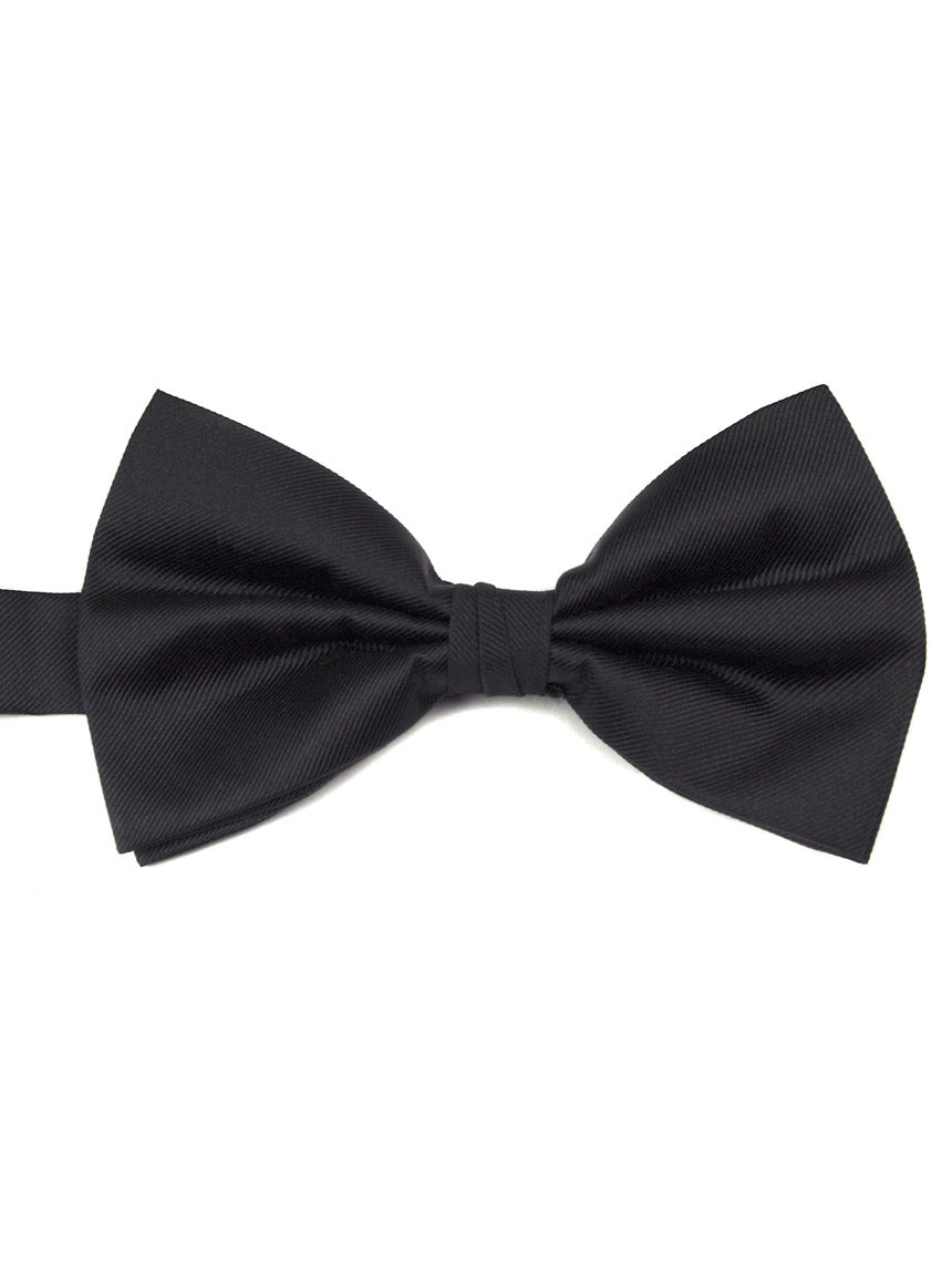 DÉCLIC Ribbed Silk Bow Tie - Black