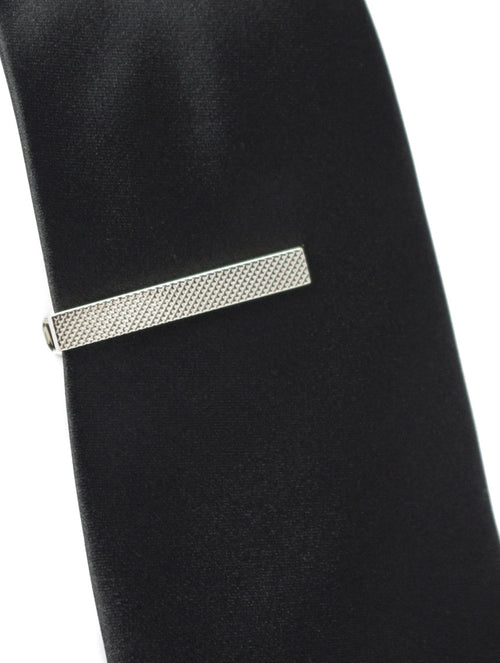 DÉCLIC Short Textured Tie Bar - Silver