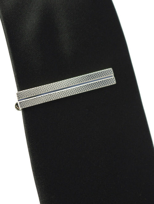 DÉCLIC Groove Textured Tie Bar - Silver