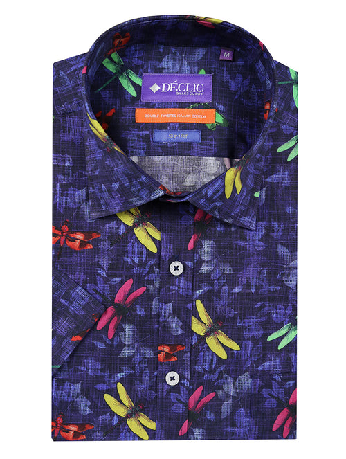 DÉCLIC Dragonfly Print Short Sleeve Shirt - Assorted