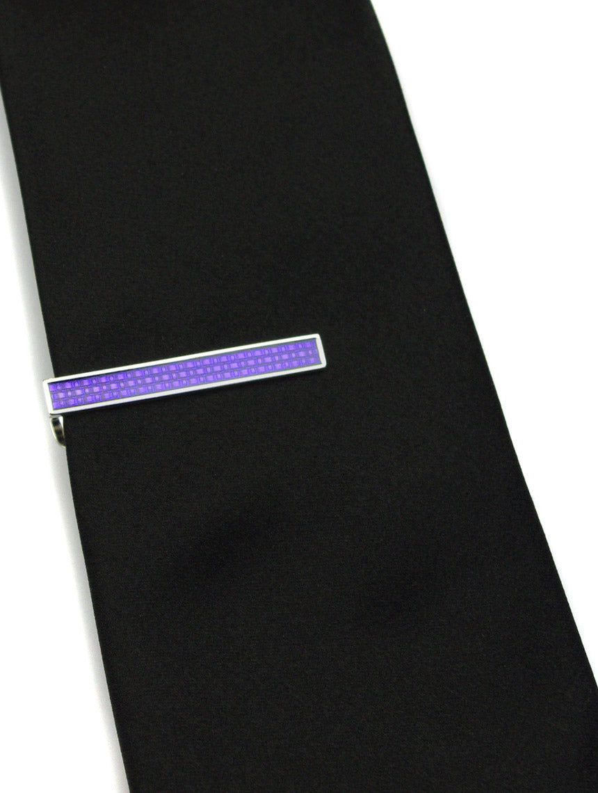 DÉCLIC Textured Enamel Tie Bar - Purple