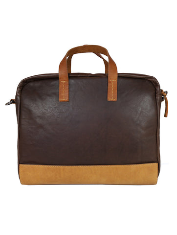 OF Briefcase Leather/Canvas - Black
