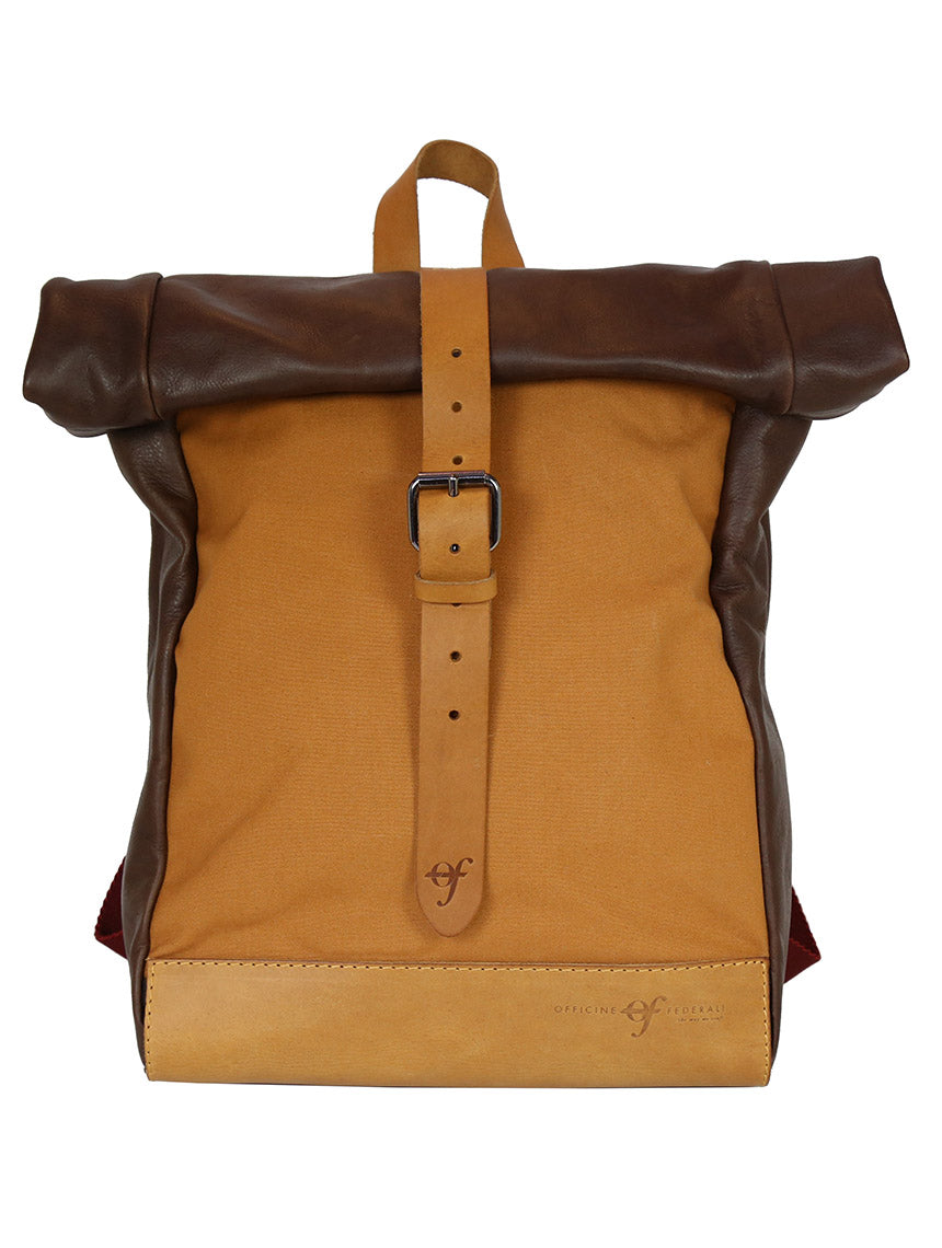 OF Urban Backpack Leather/Canvas - Orange