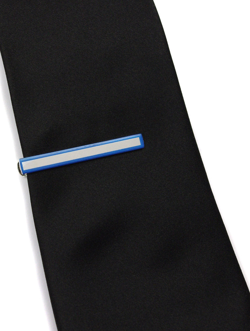 DÉCLIC Bordered Tie Bar - Blue
