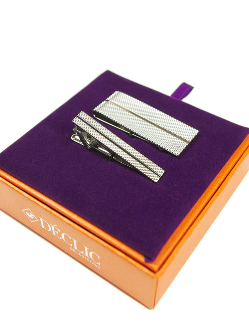 DÉCLIC Grooved Tie Bar-Money Clip Gift Set
