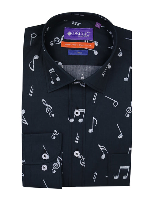 DÉCLIC Musical Note Print Shirt - Navy