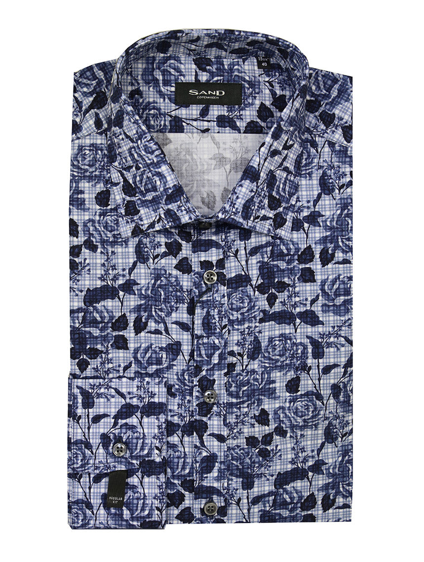 SD Floral Check Print Shirt - Navy