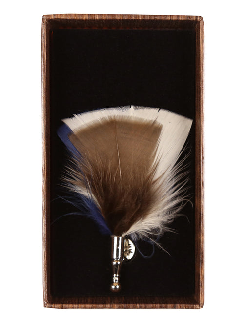DÉCLIC Tri Colour Feather Lapel Pin - Blue